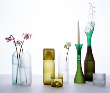 Transglass Recycled wine bottle vases