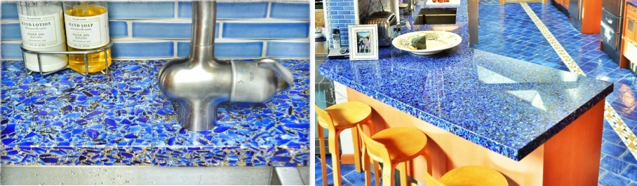recycled blue glass countertops