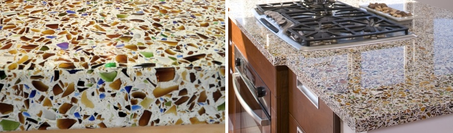 recycled beer bottle glass counter tops