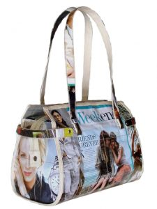 recycled magazine duffel bag