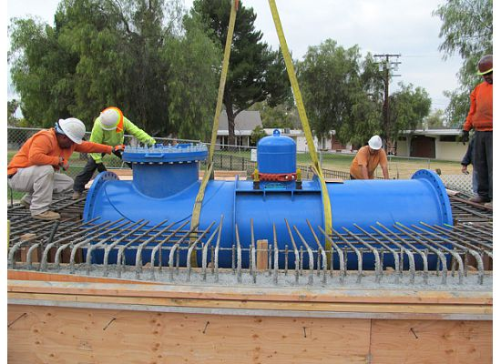 Installing hydro power pipe