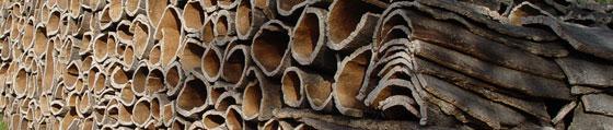 Harvested Cork Oak Tree Bark Pile